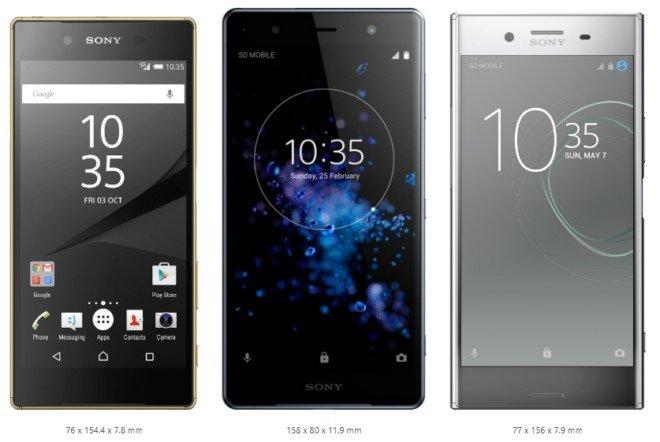 Sony Xperia XZ2 Premium габариты с другими premium